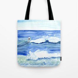 """""""Surfing"""" Watercolor on yupo paper Tote Bag"""