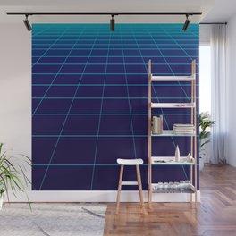 Minimalist Blue Gradient Grid Lines Wall Mural