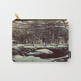 Snowy Bridge in Vaughan's Woods Carry-All Pouch