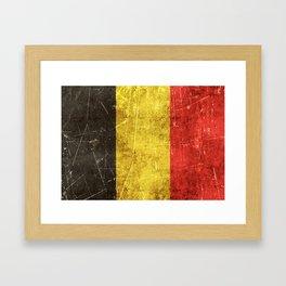 Vintage Aged and Scratched Belgian Flag Framed Art Print