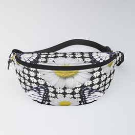BLACK-WHITE DAISIES & MONARCH BUTTERFLIES ART Fanny Pack