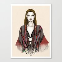 gucci Canvas Prints featuring Gucci illustration by Tania Santos