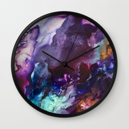 Expressive Flow 1 - Mixed Media Pain Wall Clock