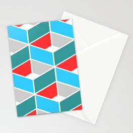 Simple Pattern Blue and Red Stationery Cards