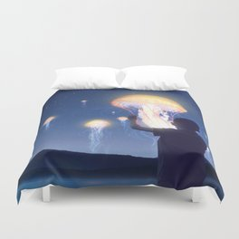 Jellyfish Lanterns Festival Duvet Cover