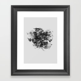 women and smoke, black and white Framed Art Print