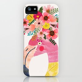 Pink flamingo with flowers on head iPhone Case