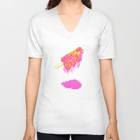 popsicle V-neck T-shirts featuring Popsicle by Dewey Saunders
