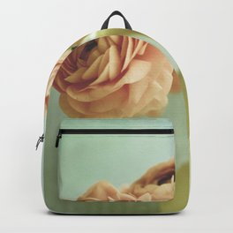 Peach Flowers on Mint Backpack