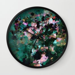 Contemporary Abstract Wall Art in Green / Teal Color Wall Clock