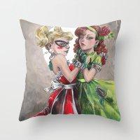 gotham Throw Pillows featuring Gotham girls by Bianca Roman-Stumpff