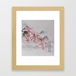 Chinese Ink Mountains With Sakura Blossoms Framed Art Print