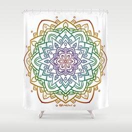 Floral Mandala A - Rainbow Line Shower Curtain