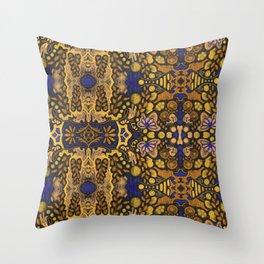 Indian Summer, Bohemian Arabesque Pattern, Golden Yellow Throw Pillow