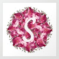 S Floral  Art Print