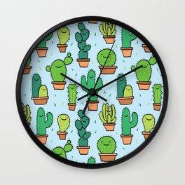 Cute Cactus Cacti Pattern Light Blue Background Wall Clock