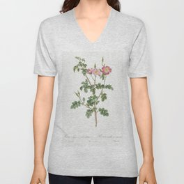 Prickly Sweet Briar Rose with Dusty Pink Flowers Rosa rubiginosa aculeatissima from Les Roses (1817- Unisex V-Neck