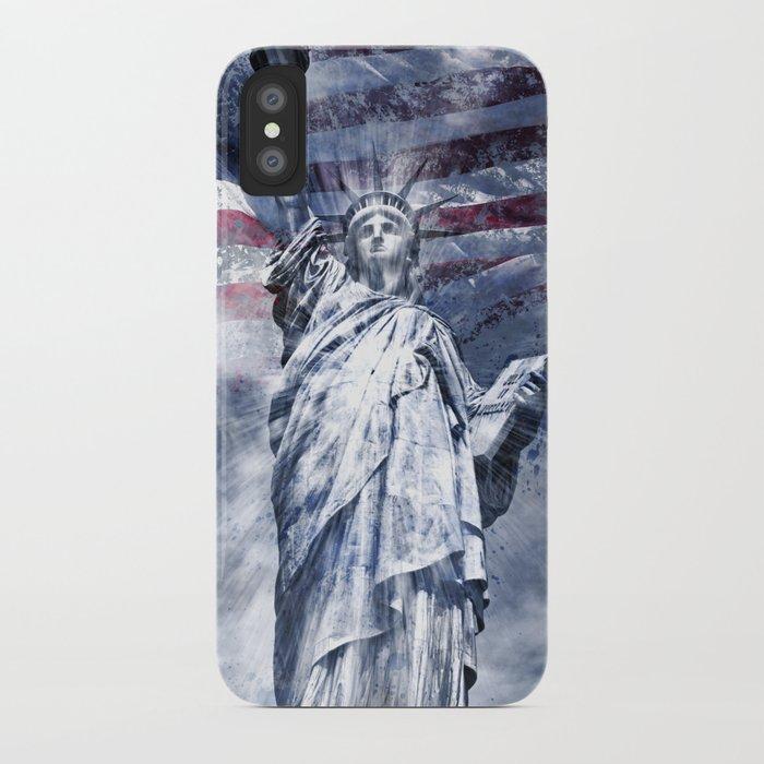 Modern-Art STATUE OF LIBERTY blue iPhone Case