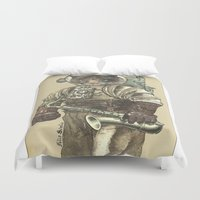 saxophone Duvet Covers featuring Space Cat with Saxophone by Felis Simha