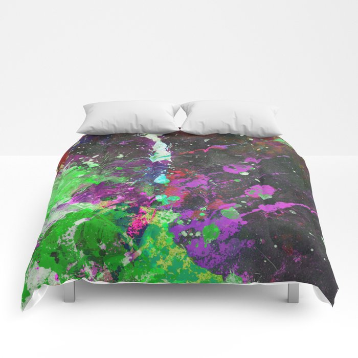 Breakthrough - Multi Coloured Abstract Textured Painting Comforters