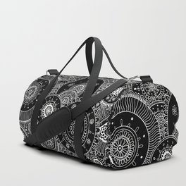 Lacy White Mandalas on Black Duffle Bag