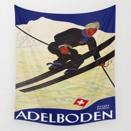 Vintage Adelboden Switzerland - Ski Jump Wall Tapestry