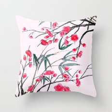 bamboo and red plum flowers in pink background Throw Pillow