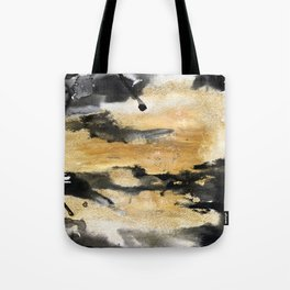Black and Gold Brush Stroke Abstract Tote Bag