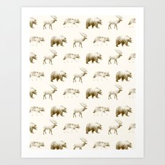 Wild Pattern // Brown Art Print