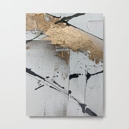 Still: an abstract mixed media piece in black, white, and gold by Alyssa Hamilton Art Metal Print