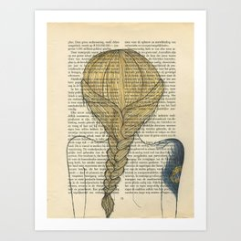 Portrait Of A Girl with A Peacock Feather Art Print