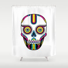 CMYK Skull Shower Curtain