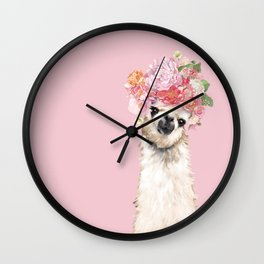 Llama with Flower Crown in Pink Wall Clock