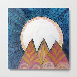 Moon Over Mountains at Dusk Metal Print