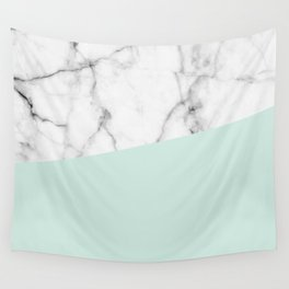 Real White marble Half pastel Mint Green Wall Tapestry