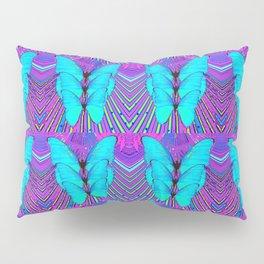 MODERN ART NEON BLUE BUTTERFLIES SURREAL PATTERNS Pillow Sham