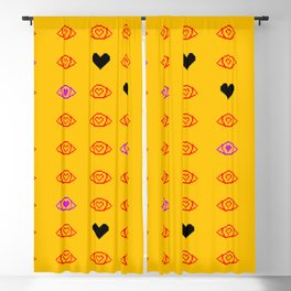 Pixel Eyes and Hearts Blackout Curtain