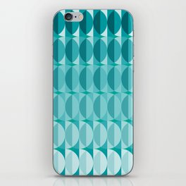 Leaves in the moonlight - a pattern in teal iPhone Skin