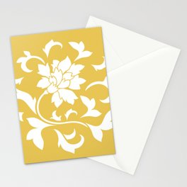 Oriental Flower - Mustard Yellow Circular Pattern Stationery Cards