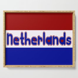 Netherlands Flag with Dutch Font Serving Tray