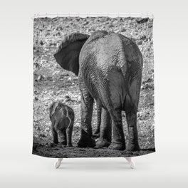 B&W Elephant Love 4 Shower Curtain