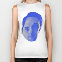 chad wys Biker Tanks featuring Bad Chad Head by Blake Makes Tees