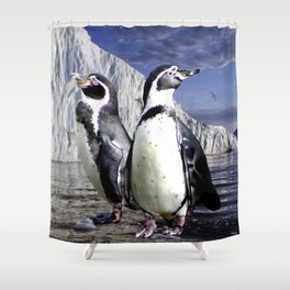 Penguins and Glacier Shower Curtain
