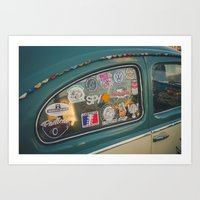 stickers Art Prints featuring Rear window stickers by Felix Padrosa Photography