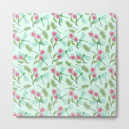Summer Walks in The Woods Dragonfly and Flowers Pattern Metal Print