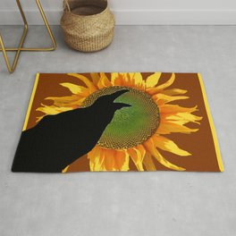 COFFEE BROWN CROW YELLOW SUNFLOWER FLORAL ART Rug