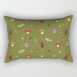 Pixel Mushrooms on Green Rectangular Pillow