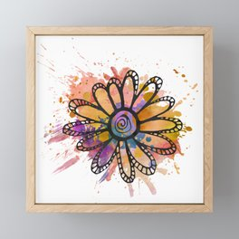 GC031-2 Colorful watercolor doodle flower mustard and purple Framed Mini Art Print