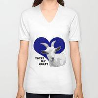 totes V-neck T-shirts featuring Totes Ma Goats - Blue by BACK to THE ROOTS