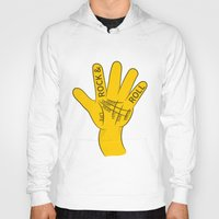 rock and roll Hoodies featuring Palmistry Rock and Roll by mailboxdisco